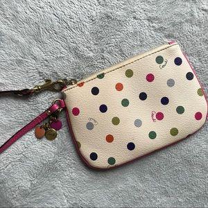 Coach Polka Dot Wristlet Coin Purse White Pink